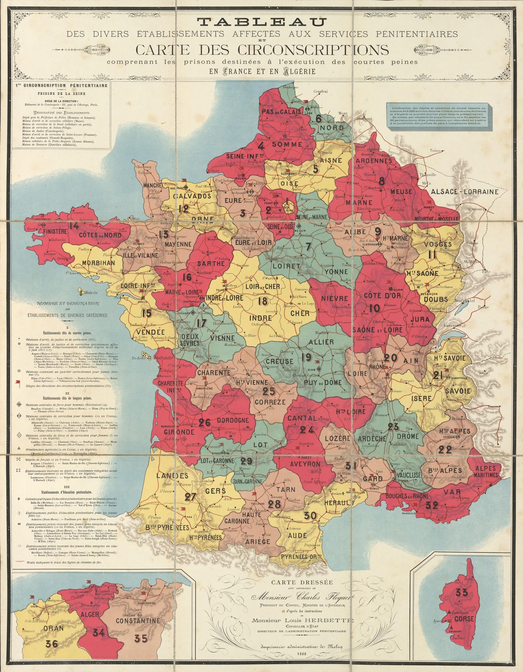 prison system map carte des circonscriptions pnitentiaires 1888